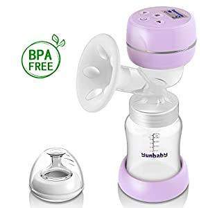 Electric Breast Pump, Portable Milk Pump Breastfeeding with Massage Mode and Adjustable Suction Pumping Levels for Mom's Comfort, Voice Guide LCD Display USB Charging, BPA Free Food Grade (Violet) from Yunbaby