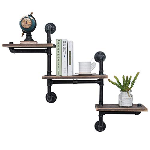 Cheap MBQQ Industrial Bookshelf Pipe Shelves 3 Tiers,Rustic Wood Shelf Wall Mounted,Metal Corner Hung Bracket Shelving Floating Shelves Steampunk Decor