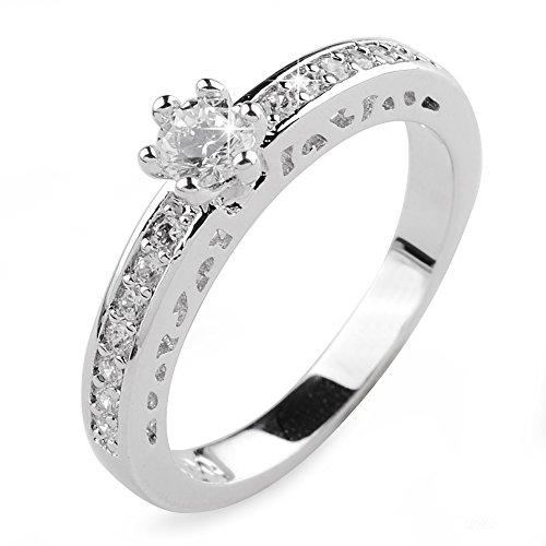 Aiyaya® Jewelry 0.4 Carat Round Sona Diamond Solitaire Napkin Crystal Rings for Women Sz7