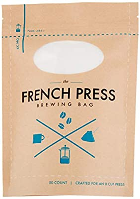 The Original French Press Brewing Bags - 50 Easy To Use Fine Mesh Disposable Coffee Filters For Your French Press - Perfect for Cold Brew in Mason Jars, Beer Hops, Tea, Spice Sacks (50 Pack)