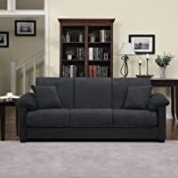 Montero Microfiber Convert-a-Couch Sofa Sleeper Bed, Charcoal Gray