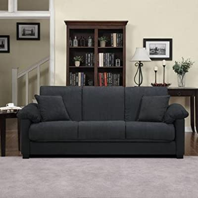 Montero Microfiber Convert-a-Couch Sofa Sleeper Bed, Charcoal Gray -  - sofas-couches, living-room-furniture, living-room - 41ZY6GxfBjL. SS400  -