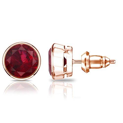 set Round Ruby Gemstone Stud Earrings (1 1/4 cttw) ()