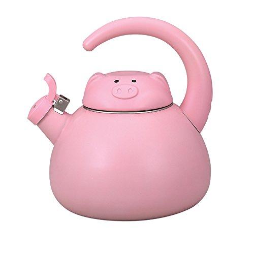 Pink Pig Enamel on Steel Whistling Teakettle