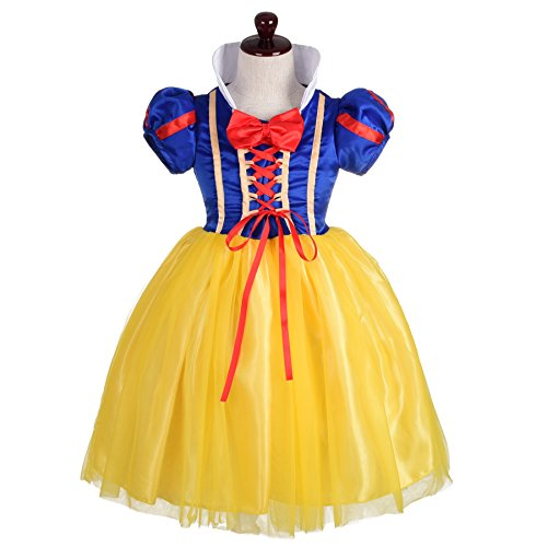 Dressy Daisy Girls' Princess Snow White Costume Fancy Dresses Up Halloween Party Size 4 - Snow White Costume Girl
