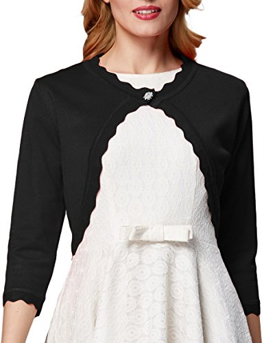 3/4 Sleeves Knit Cardigan Shrug Trim Hem for Women Black,L AF1062-2