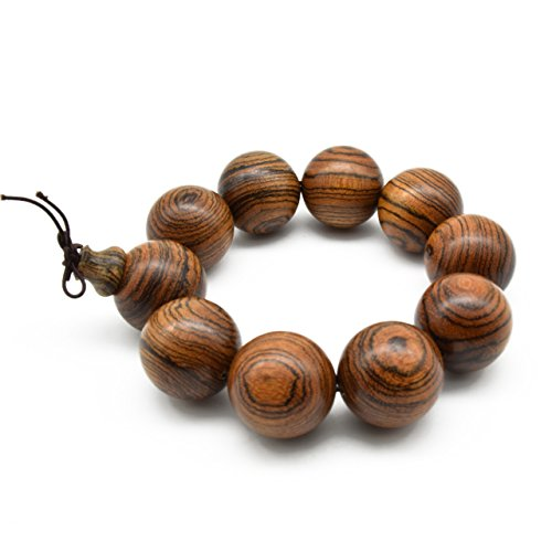 - Zen Dear Unisex Natural Tigerwood Mala Beads Buddhist Prayer Bracelet Link Wrist Necklace Chain Beads (25mm 10 Beads)