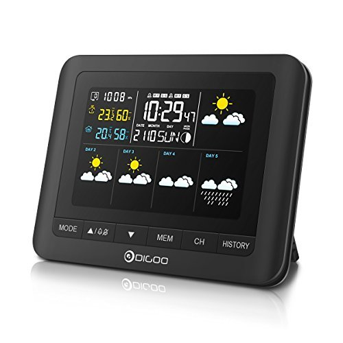 DIGOO Five Day Weather Forecast Weather Station, DG-TH8805 Digital in&Outdoor Hygrometer Thermometer, Temperature&Humidity Monitor, Alarm Clock with Snooze Function