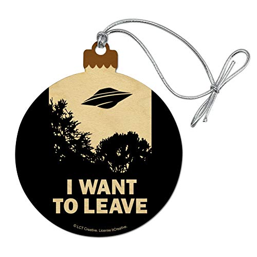 GRAPHICS & MORE I Want to Leave UFO Believe Funny Humor Wood Christmas Tree Holiday ()