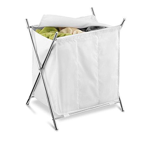 Honey-Can-Do Folding Triple Laundry Sorter, White/Chrome