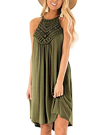 1e6446203b402 YIBOCK Women's Summer Sleeveless Halter Neck Lace Solid Color Loose Mini  Dress