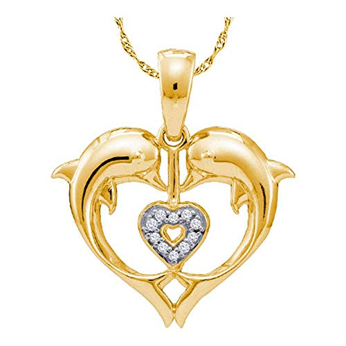 - Jewels By Lux 10kt Yellow Gold Womens Round Diamond Double Dolphin Heart Pendant .03 Cttw In Pave Setting (I2-I3 clarity; J-K color)