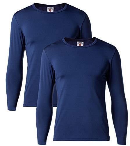 LAPASA Men's Lightweight Thermal Underwear Tops Fleece Lined Base Layer Long Sleeve Shirts 2 Pack M09 (X-Large, Navy) (Top Ten Best Makeup Brands)