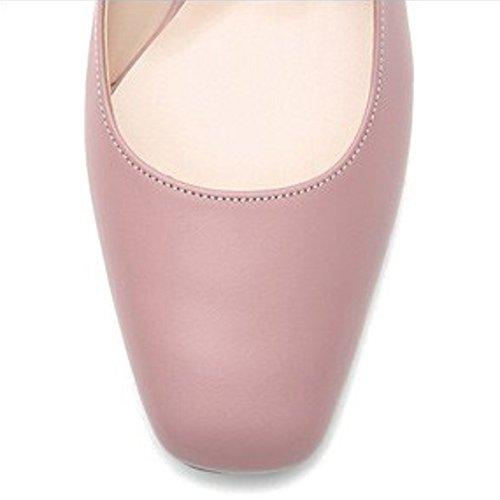 Karen Blanc Femmes Rose Pompes En Cuir Véritable Bloc Central Talon Chaussures De Printemps Rose