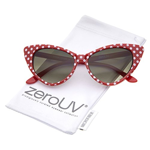 zeroUV - Women's Retro Polka Dot Oversize Cat Eye Sunglasses 50mm (Red-White / Smoke - Sunglasses Size 50mm
