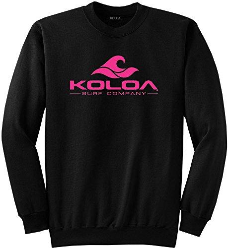 - Joe's USA Koloa Surf Classic Wave Logo Crewneck Sweatshirt - L-Black/Pink