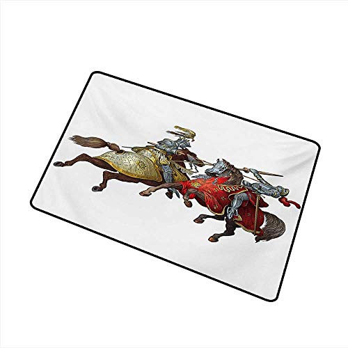 Diycon Pet Door mat Medieval Middle Age Fighters Knights with Ancient Costume Renaissance Period Illustration W35 xL59 Mildew Proof