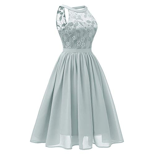 Women's Sexy Lace Floral Dress Solid Green Vintage Princess Cocktail Party A-line Swing Dress -