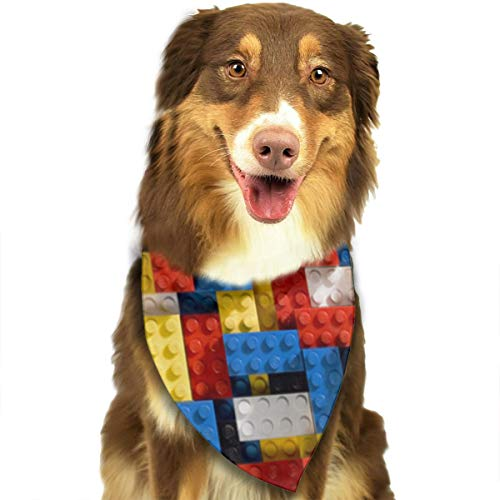 Dog Bandana Red Blue Yellow Cube Pattern Triangle Bibs Scarf Printing Kerchief Set Accessories Dogs Cats Pets]()