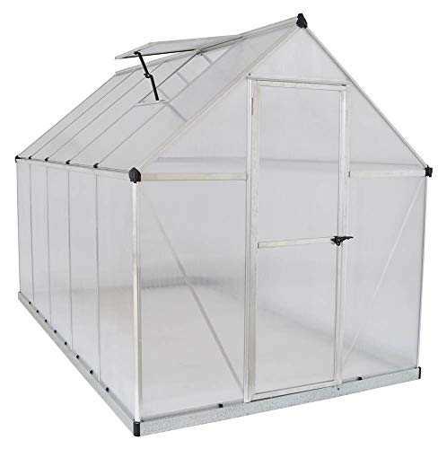 Palram HG5010 Mythos Greenhouse, 6' x 10' x 7', Silver (12 X 8 X 4 Retaining Wall Blocks)