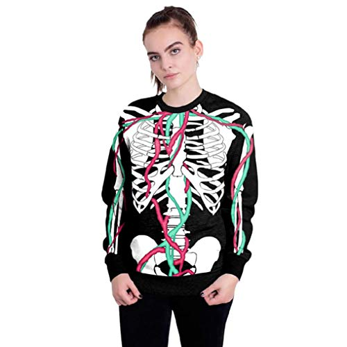 BETTERUU Women Halloween Skull 3D Printing Long Sleeve Hoodie Sweatshirt Pullover Top(Black, M) -