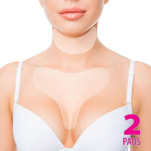 Anti Wrinkle Chest Silicone Pad, Resuable and 100% Medical Grade Décolleté Anti Wrinkle Patches, Smooth Your Skin Set of 2 Pads (Best Affordable Eye Cream For Wrinkles)