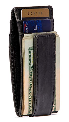RAWHYD Slim Genuine Leather Minimalist Wallet with Magnetic Money Clip | Made From Top Grain Leather ()