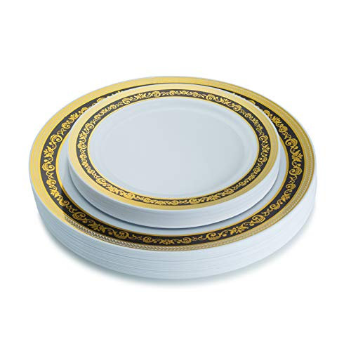Posh Setting Royal Collection Combo Pack China Look White, Black and Gold Plastic Plates,(Includes 20 10.25'' Dinner Plates and 20 7.25'' Salad Plates),Disposable Plastic Dinnerware
