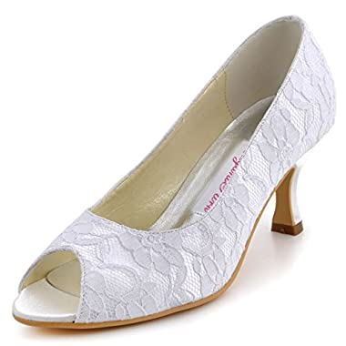 Elegantpark EP11013-25 Women Pumps Peep Toe Mid Heel Lace Satin Bridal Wedding Shoes White US 11