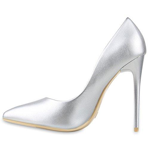 Stiefelparadies Damen Spitze Pumps Stilettos High Heels Leder-Optik Elegante Schuhe Flandell Silber