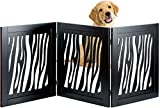 Bundaloo Pet Gate   Expandable & Folding Wood Fence for Dogs & Cats with Three Panels for Blocking Doors, Stairs, Steps   Freestanding Safety Enclosure for Home & Indoor (Black, Zebra Print)