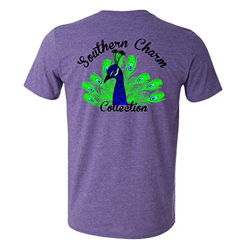 (Southern Charm Collection Peacock on a Heather Purple Short Sleeve T Shirt 4X)