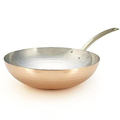 Kuprum Hand Hammered Copper Specialty Stir-Fry Wok Pan with Tin Coating