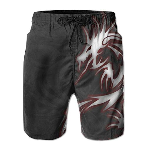 Dragon Boardshorts - P-AKAS Mens Beach Swim Shorts Summer Sport Surfing Board Shorts with Pockets - Cool Dragon Tribal Logo Black Quick Dry Casual Swim Trunks