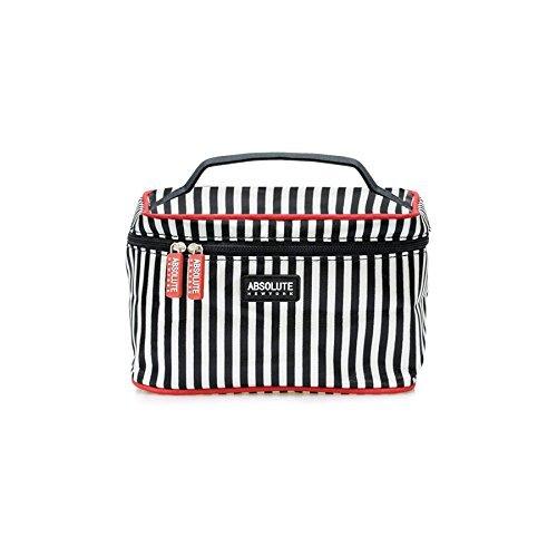 Absolute New York ACB01 Kosmetik Tasche - black und white stripes satin, 1er Pack (1 x 1 Stück)