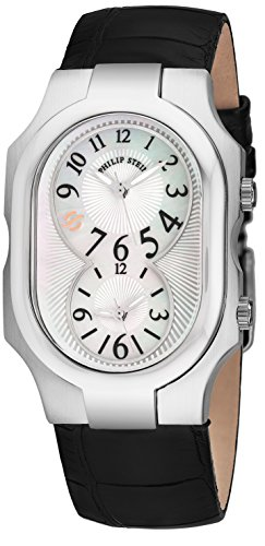 Philip Stein Signature Womens-Large Stainless Steel Dual Time Zone Watch - Mother of Pearl Face Natural Frequency Technology Unisex Watch - Black Leather Band Analog Quartz Watches for Women or Men
