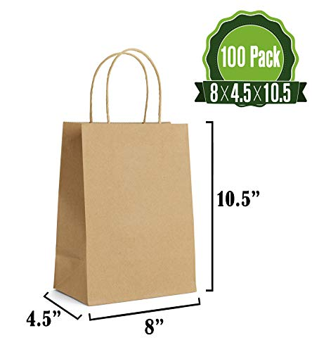 Brown Kraft Paper Gift Bags Bulk with Handles 8 X 4.5 X 10.5 [100Pc]. Ideal for Shopping, Packaging, Retail, Party, Craft, Gifts, Wedding, Recycled, Business, Goody and Merchandise Bag ()