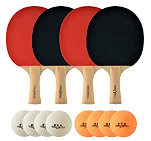 ProSpin Table Tennis Paddle Set with 4 Premium Ping Pong Paddles, 8 Professional 40mm Balls (4 White + 4 Orange), Portable Storage Bag. Ultra Durable, Set for 2 or 4 Players. Guaranteed.