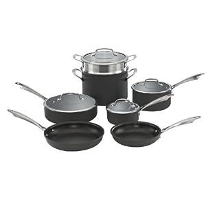 Cuisinart Dishwasher Safe Hard-Anodized 11-Piece Cookware Set, Black 8