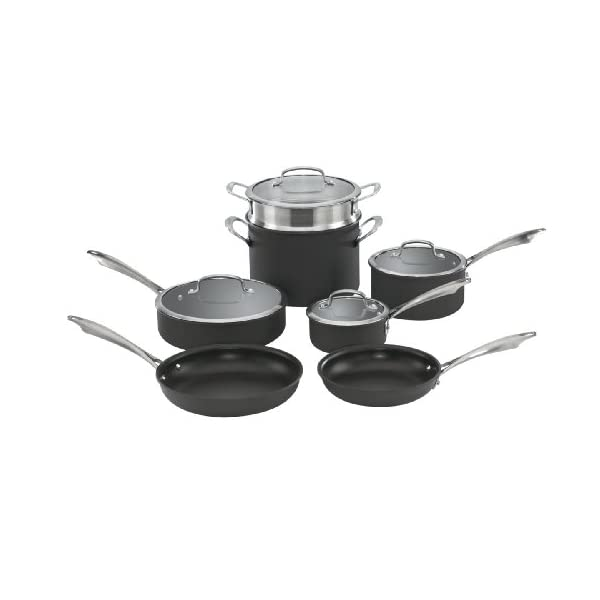 Cuisinart Dishwasher Safe Hard-Anodized 11-Piece Cookware Set, Black 1