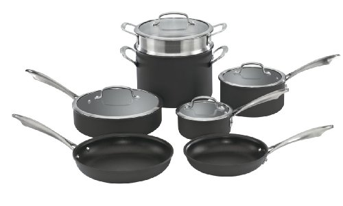 Cuisinart Anodized Cookware - Cuisinart DSA-11 Dishwasher Safe Hard-Anodized 11-Piece Cookware Set