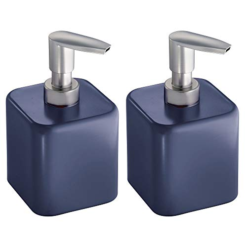 mDesign Small Square Metal Refillable Liquid Hand Soap Dispenser Pump Bottle for Kitchen, Bathroom, Powder Room - Holds Hand Soap, Dish Soap, Hand Sanitizer & Essential Oils - 2 Pack - Navy Blue/Satin