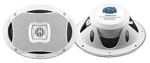0.5' Dome Tweeter - Lanzar 6x9 Inch Marine Speakers - 2 Way Water Resistant Audio Stereo Sound System with 500 Watt Power, Attachable Grills and Resin Treatment for Indoor and Outdoor Use - 1 Pair - AQ69CXW (White)