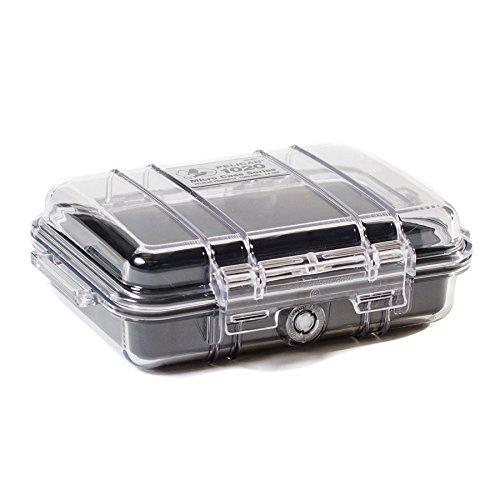 Pelican 1020 Micro Case LG L Fino, L90 Dual, Lucid 3, Tribute, Volt, Vu 3 Smartphone Rugged & Tough Outdoor Adventure Travel and Sport Case in Black (Waterproof, Crushproof, Dustproof Design; Easy-open Latch; Transparent Cover; Included Sport Carabiner)