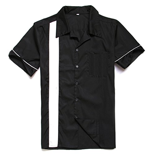 Anchor MSJ Men's 50s Male Clothing Rockabilly Style Casual Cotton Blouse Mens Fifties Bowling Dress Shirts (L) -