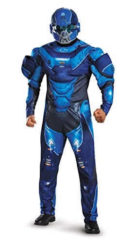 Disguise Men's Halo Spartan Muscle Costume, Blue,