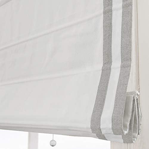 Artdix Cordless Roman Shades Blackout Window Shades – White Light Grey Ribbon Fabric Light Filtering Custom Roman Shades Blinds for Windows, Doors, French Doors, Kitchen Windows