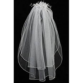 White Holy 1st Communion Headpiece with Comb Three Organza Flowers with Rhinestones Swea Pea /& Lilli Girls First Communion Veil and Crystals Pearls