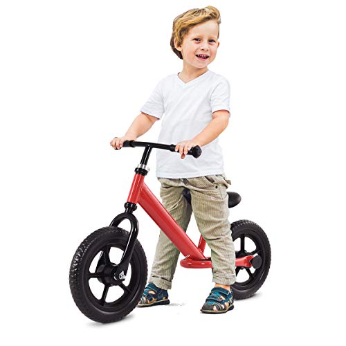 Costzon Kids Balance Bike, 12 Inch Classic Lightweight No-Pedal Toddlers Walking Bicycle w/Height Adjustable Seat and Handle, for Children Boys & Girls Age 2-5 (Red)