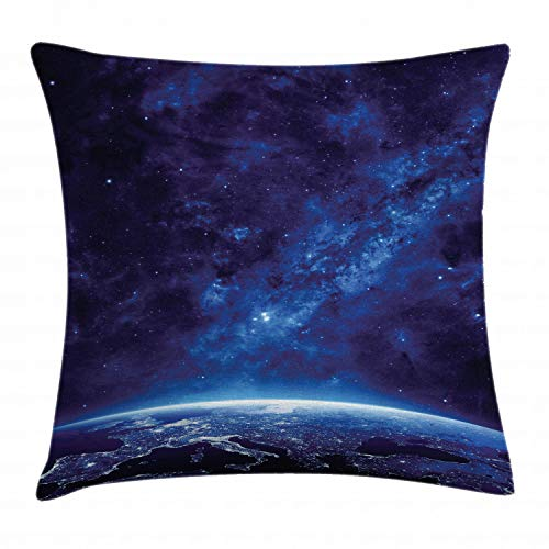 """Ambesonne Space Throw Pillow Cushion Cover, Earth at Night from Deep Atmosphere Vibrant Milky Way Starfield Ecliptic Scene Print, Decorative Square Accent Pillow Case, 20"""" X 20"""", Blue"""